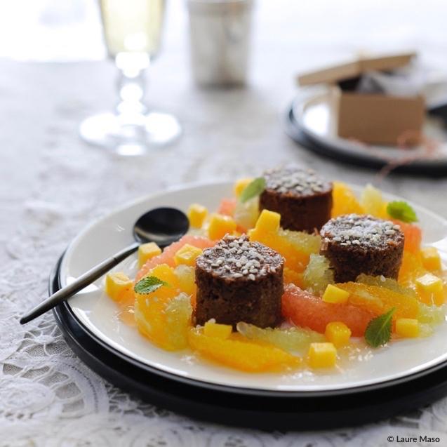 labelaure blog culinaire photographe culinaire recette dessert Noël salade agrumes mangue moelleux à la châtaigne