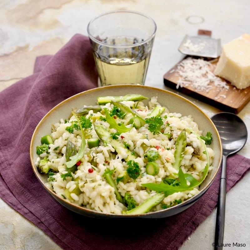 blog culinaire labelaure photo risotto crémeux asperges vertes