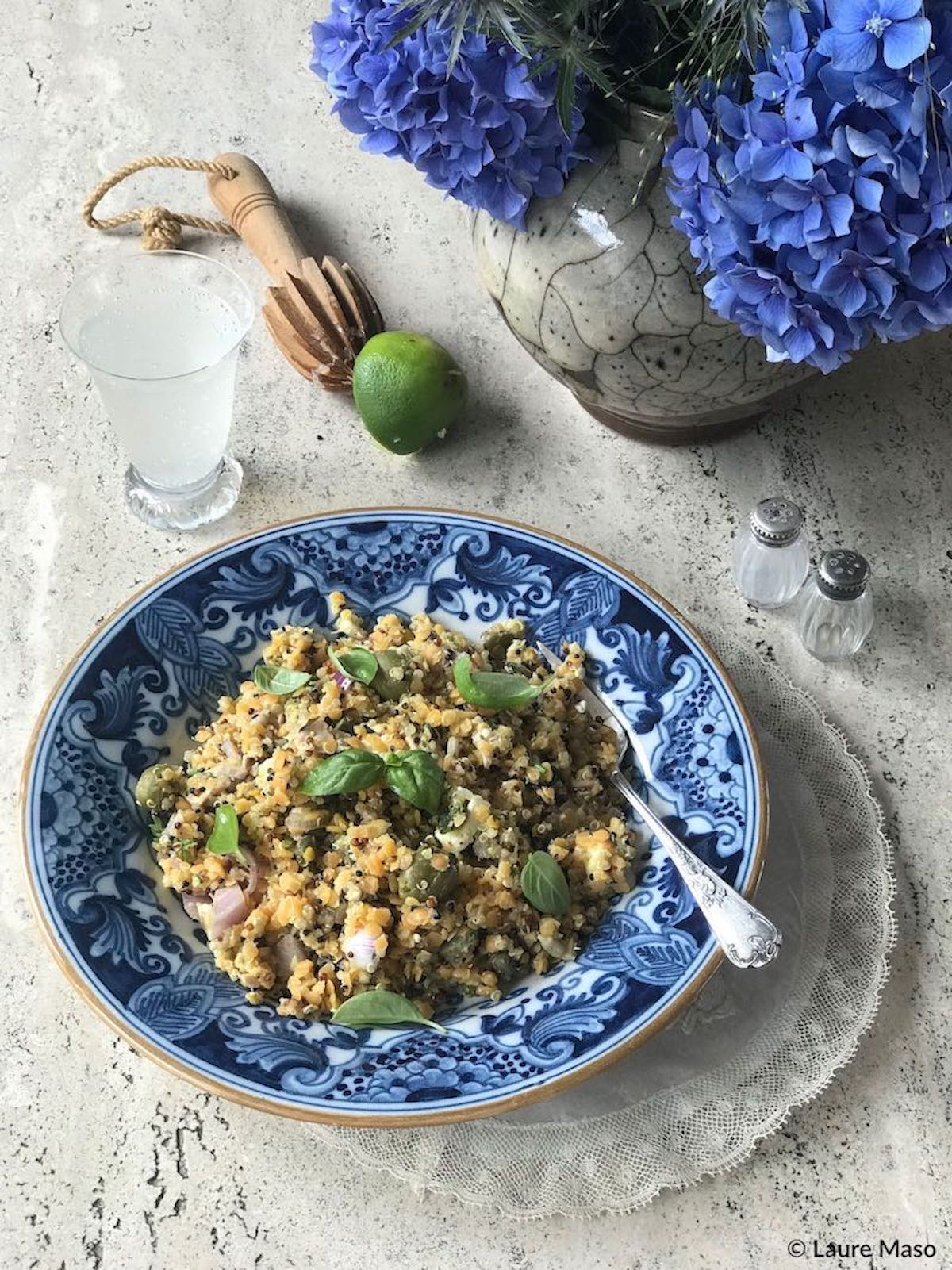 PHOTO CULINAIRE labelaure blog culinaire cuisine de l'instinct légumineuses céréales basilic citron vert lentille corail quinoa tricolore câpre gingembre