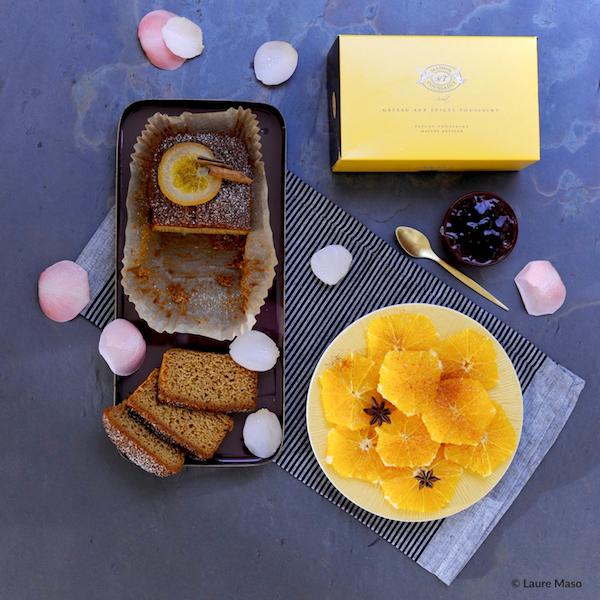 photo culinaire blog culinaire labelaure moelleux gâteau épices Maison Toussaint salade oranges gelée coing