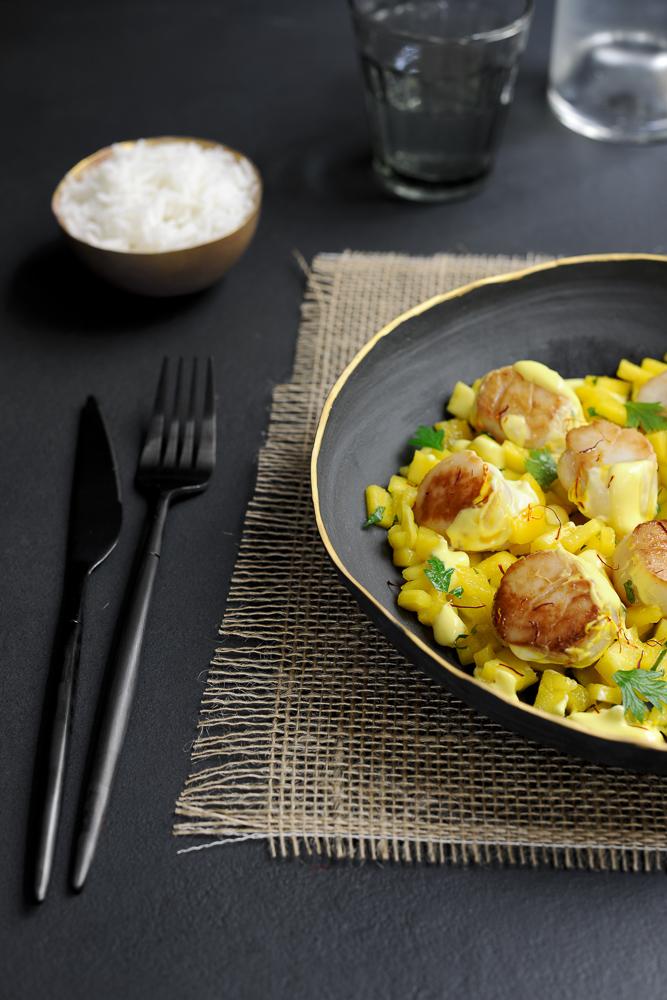 labelaure blog culinaire photographe culinaire food stylist idee recette noix de Saint-Jacques safran mangue