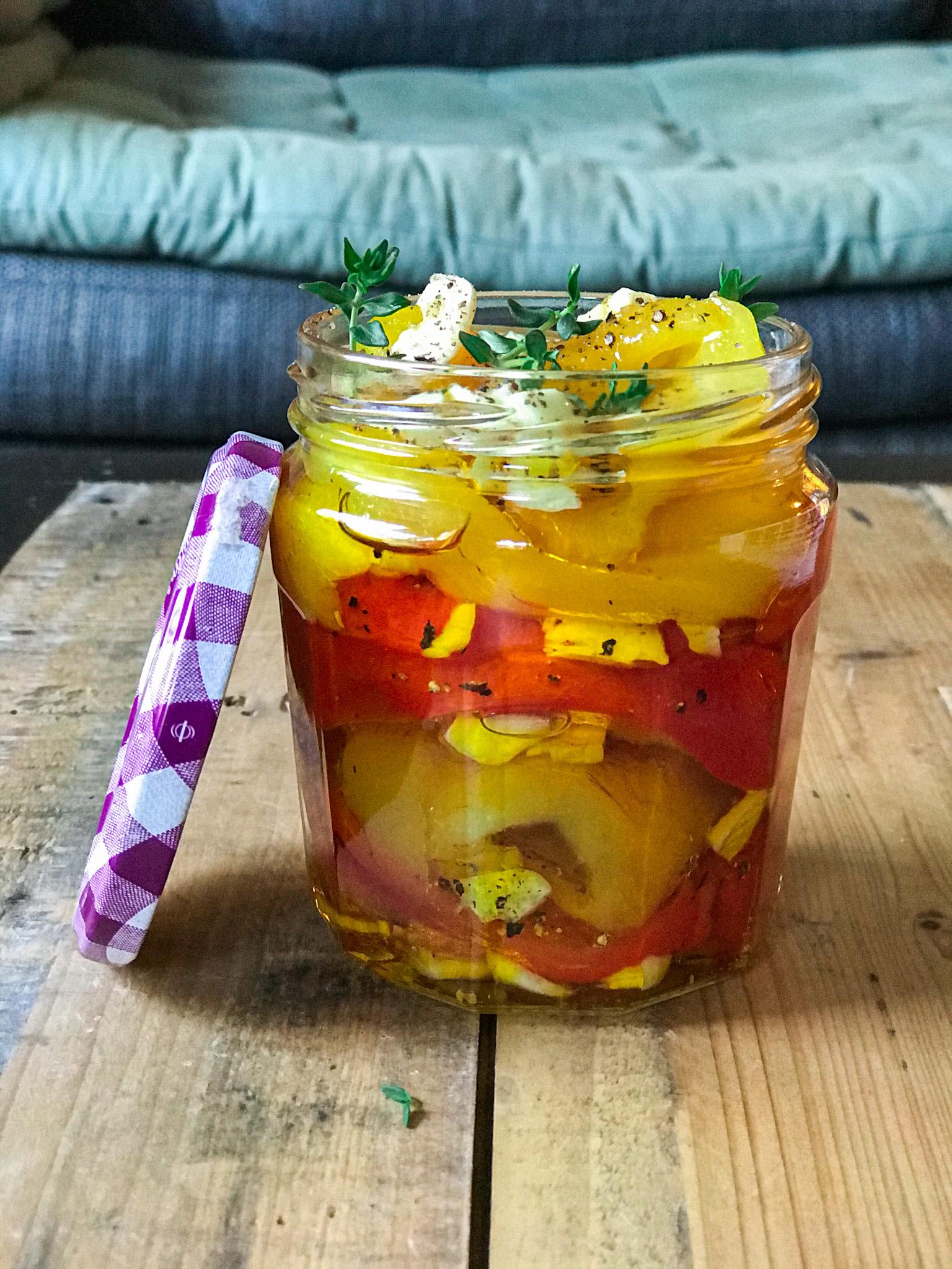 blog labelaure recette confinée ciovid 19 poivrons confits marinés ail Bonne-Maman bocaux conserve jar